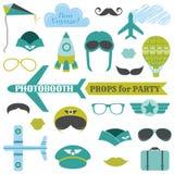 Установленная партия самолета - упорки photobooth иллюстрация вектора