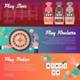Установленное знамя казино горизонтальное (торговый автомат, покер и рулетка) Плоский стиль Очистите дизайн Стоковая Фотография RF