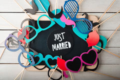 Установленные аксессуары свадьбы стоковые изображения