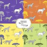Установленные безшовные картины с животными саванны иллюстрация вектора