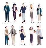 установленные бизнесмены Люди и женщины в cliothes офиса Красочная плоская иллюстрация Стоковые Изображения