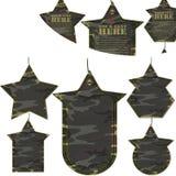 Установленные бирки пустых войск камуфлирования различные Стоковое фото RF