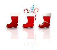 Установленные ботинки Санта Клауса Стоковые Фото
