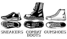 Установленные ботинки спорта вскользь иллюстрация штока