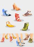 Установленные ботинки иллюстрация вектора