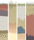 Установленные вертикальные знамена с отрезком столбцов почвы (профиль) Стоковое фото RF