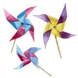 Установленные ветрянки акварели бумажные Ветрянка нарисованная рукой винтажная с ретро дизайном Иллюстрации изолированные на бело иллюстрация вектора