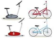 установленные велосипеды Иллюстрация вектора