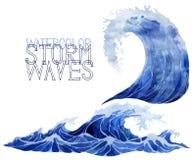 Установленные волны шторма акварели бесплатная иллюстрация