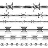 Установленные границы колючих безопасности стальные и бритвы провода вектора безшовные тюрьмы иллюстрация вектора