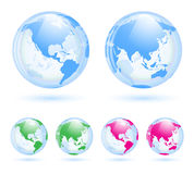 Установленные глобусы земли иллюстрация вектора