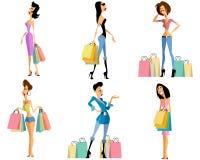 Установленные девушки покупок Стоковое Изображение
