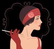 Установленные девушки язычка: ретро дизайн приглашения партии в стиле 20's Стоковое фото RF
