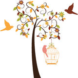 Установленные дерево и птицы влюбленности Стоковое Изображение RF