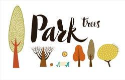 Установленные лесные деревья Иллюстрация вектора