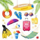 Установленные детали каникул пляжа реалистические бесплатная иллюстрация