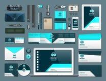 Установленные детали фирменного стиля дела Vector работая статьи позвоните по телефону, tablet, карты, карточки с логотипами брен Стоковое Изображение