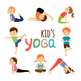 Установленные дети йоги Стоковое Изображение