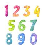 Установленные дети шаржа номеров Пушистое собрание цифра акварели Стоковая Фотография RF
