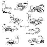 Установленные завтраки иллюстрация вектора