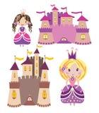 Установленные замки и принцессы Стоковые Изображения