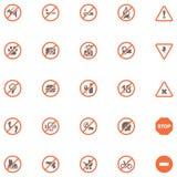 Установленные знаки запрета иллюстрация вектора