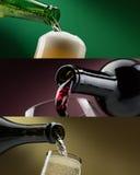 Установленные знамена алкогольных напитков стоковое изображение rf