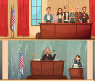 Установленные знамена зала судебных заседаний 2 закона винтажные иллюстрация штока