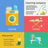 Установленные знамена компании чистки Стоковое Изображение
