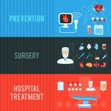 Установленные знамена концепции хирургии горизонтальные Стоковое Изображение