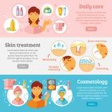 Установленные знамена косметологии кожи бесплатная иллюстрация
