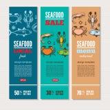 Установленные знамена морепродуктов Стоковая Фотография