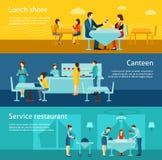 Установленные знамена общественного ресторанного обслуживании плоские горизонтальные иллюстрация вектора