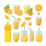 Установленные значки апельсинового сока плоские Стоковое Изображение RF