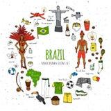 Установленные значки Бразилии Стоковые Изображения RF
