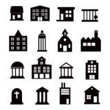 Установленные значки вектора зданий Стоковое Фото