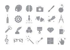 Установленные значки вектора искусства серые иллюстрация вектора