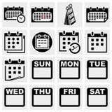Установленные значки вектора календаря. Стоковые Фотографии RF