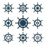 Установленные значки вектора кормила корабля Стоковая Фотография