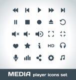 Установленные значки вектора медиа-проигрывателя Стоковое фото RF