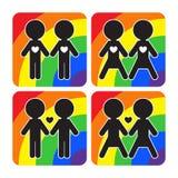Установленные значки вектора пар гея и лесбиянка Стоковая Фотография