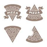 Установленные значки вектора пиццы Стоковое Изображение RF