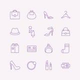 Установленные значки вектора покупок Символы моды Иллюстрация вектора