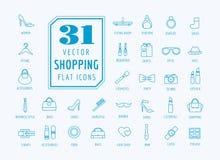 Установленные значки вектора покупок Символы моды Иллюстрация штока