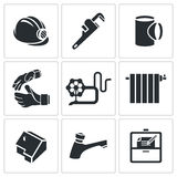Установленные значки вектора профессии водопроводчика Стоковые Фотографии RF