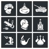 Установленные значки вектора России иллюстрация штока