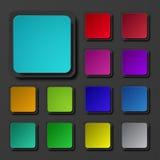 Установленные значки вектора современные красочные квадратные Стоковое Изображение