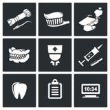 Установленные значки вектора стоматологии Стоковая Фотография
