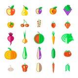Установленные значки вектора фруктов и овощей фермы плоские Стоковое фото RF