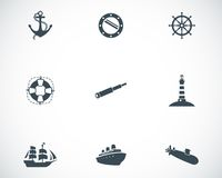 Установленные значки вектора черные морские иллюстрация вектора
